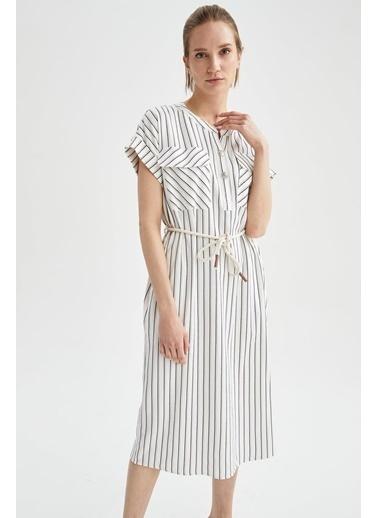 DeFacto Çizgi Desenli V Yaka Kuşaklı Gömlek Elbise Beyaz